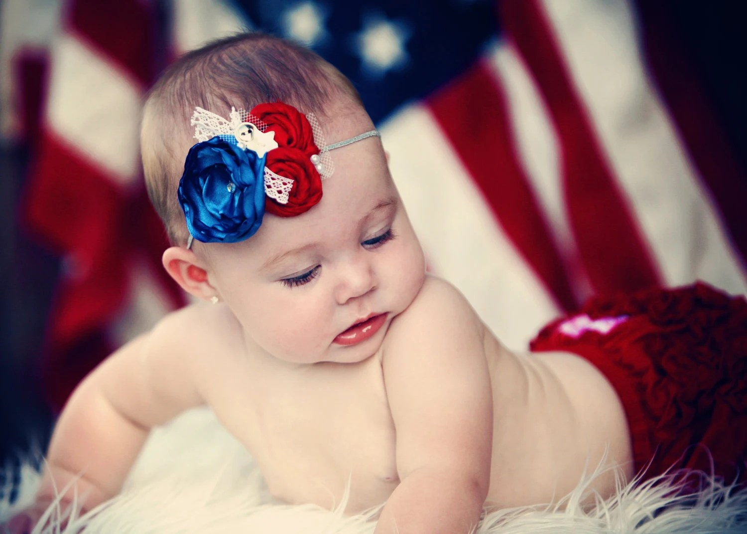 American, Red, White and Blue infant headband with lace and vintage star buttons