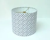 "9"" Drum Lampshade in Grey and White Greek Key Geometric fabric"
