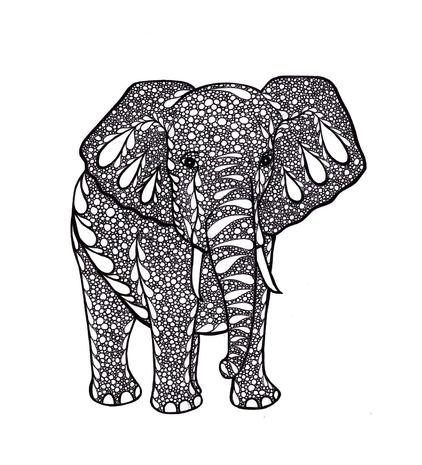 Printable Art, Ink Drawing Elephant Zentangle, Black and White
