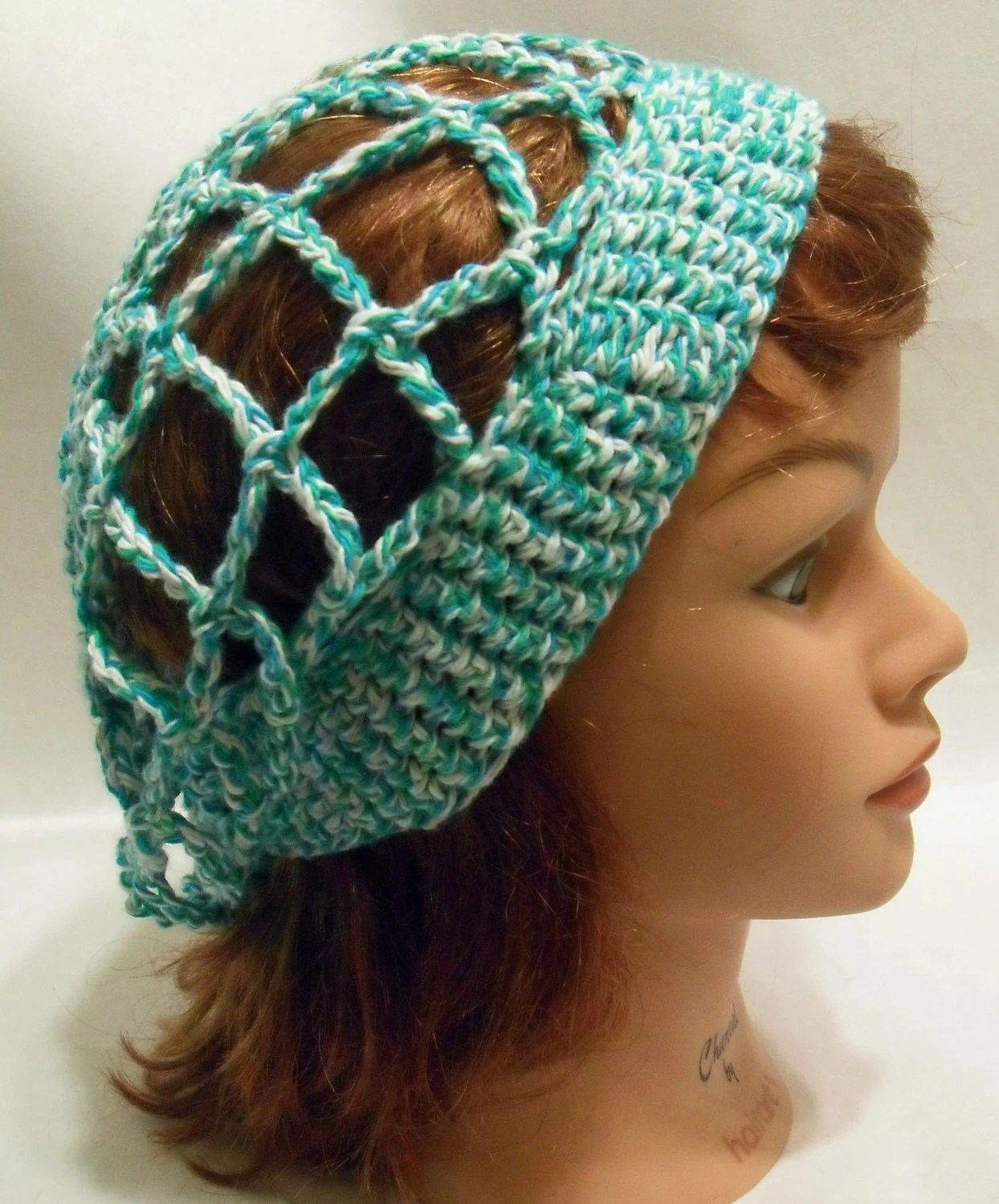 Crochet Mesh Snood Slouchy Hat in Blue and White XSmall / Small - AddSomeStitches