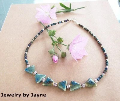 Czech Firepolished green beads with Porcelain Triagle beads Necklace