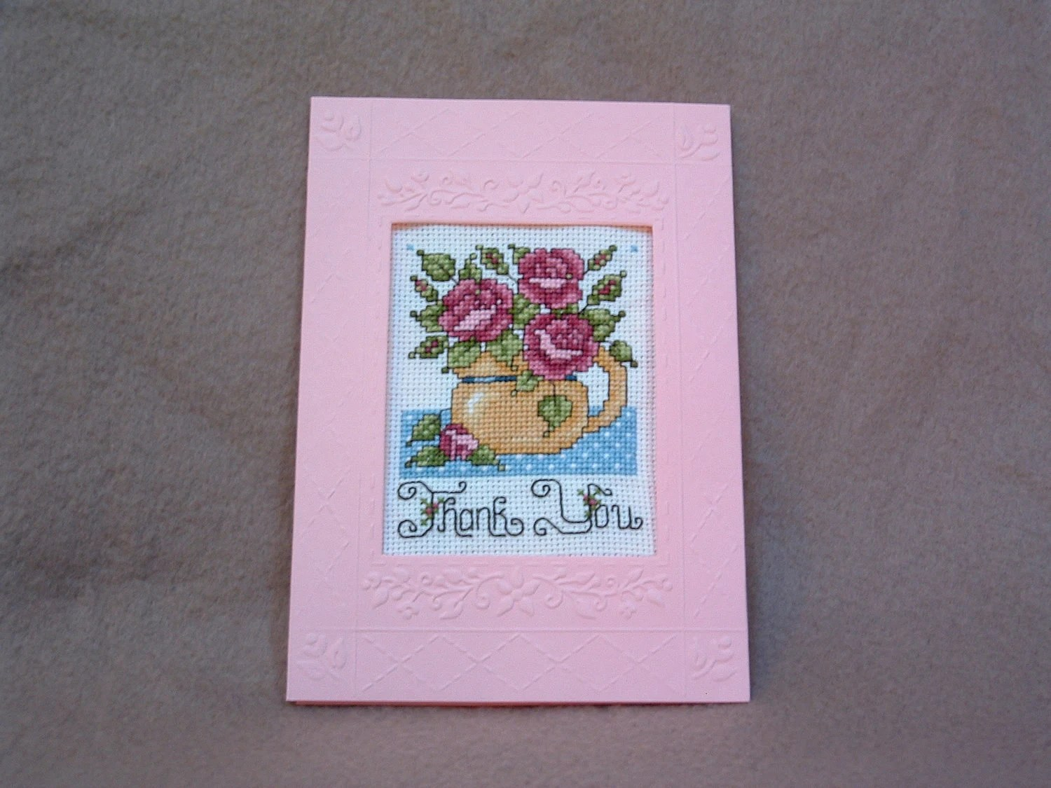Handmade Completed Counted Cross Stitch Thank You Greeting Card