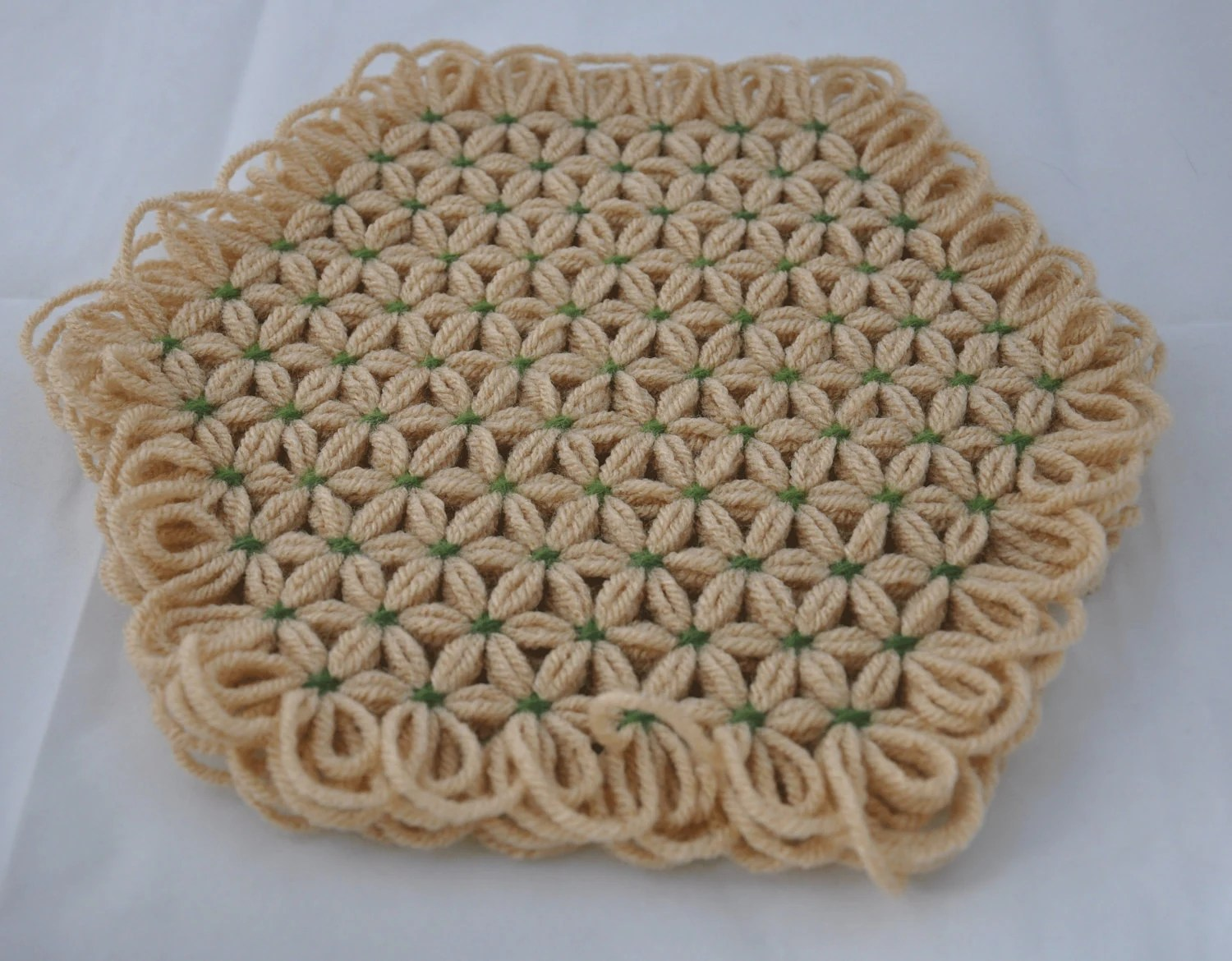Small Trivet in 4 Layers of Tan Yarn with Medium and Lime Green Ties - OOAK (One Of A Kind)