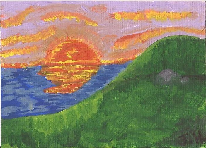 Fiery Sunset ACEO
