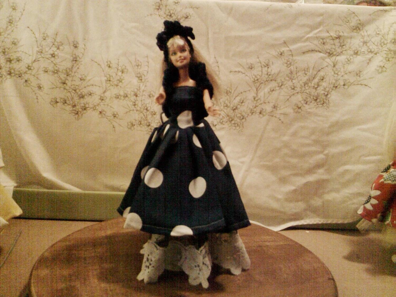 BARBIE DOLL CLOTHES- Dress,  petticoat, bolero, hat , bag,(nannycheryl original ) 884  x  80