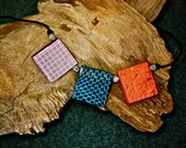 Reversible Necklace - Texture Patterns on Guadua in Orange, Blue, Purple with Hemp