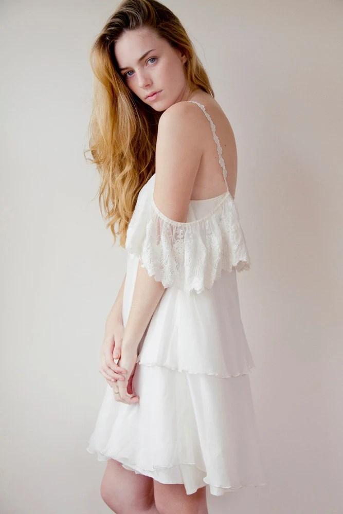Ivory French lace short dress / wedding dress - GraceLovesLace