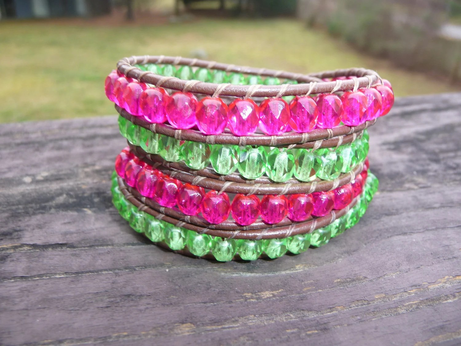 Lime green and pink beaded wrap