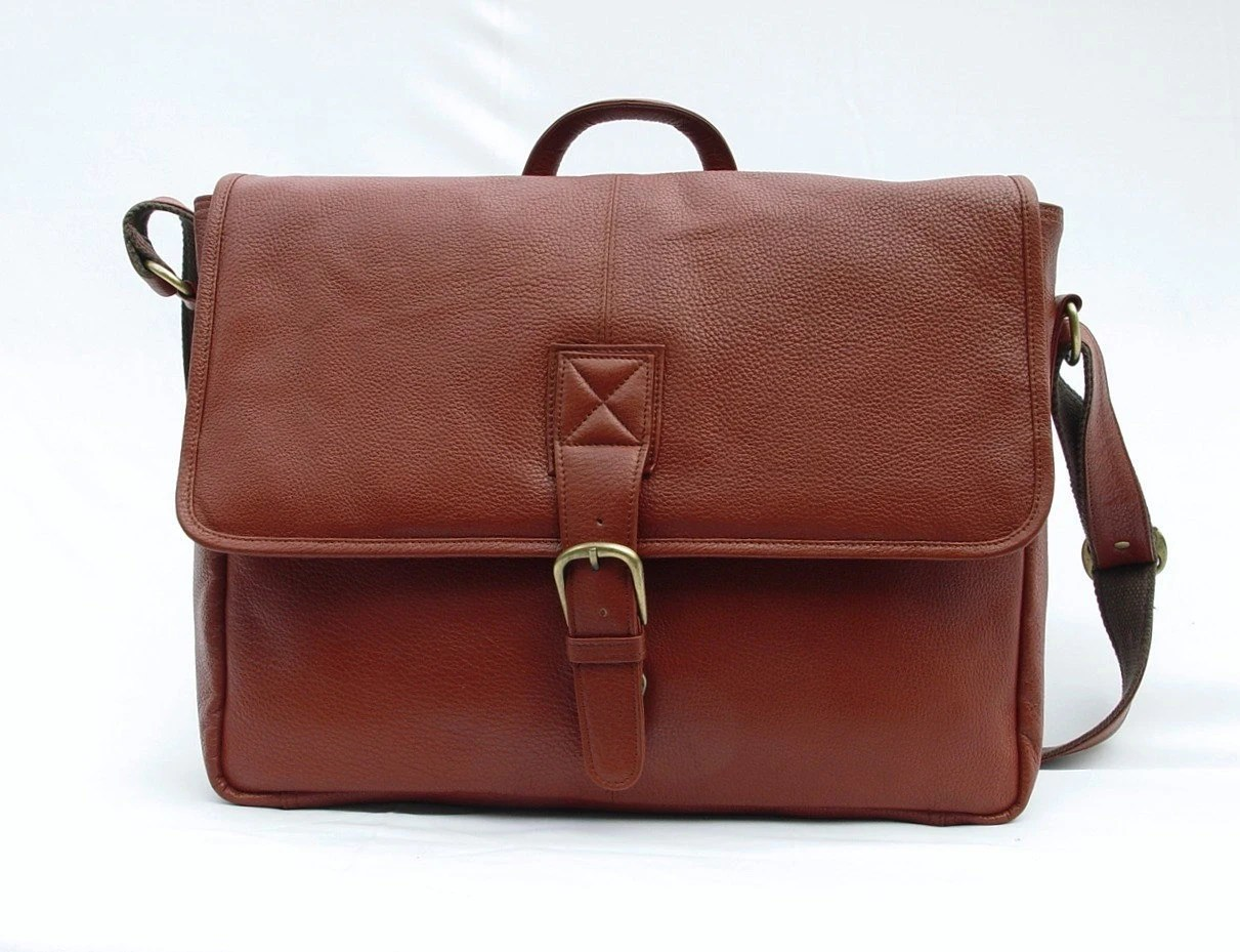 Leather Messenger Bag / Briefcase / Laptop Bag - Tan