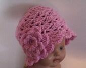 Crochet Hat, Crochet Beanie, Cloche Crochet Hat,   Age 2T 4T