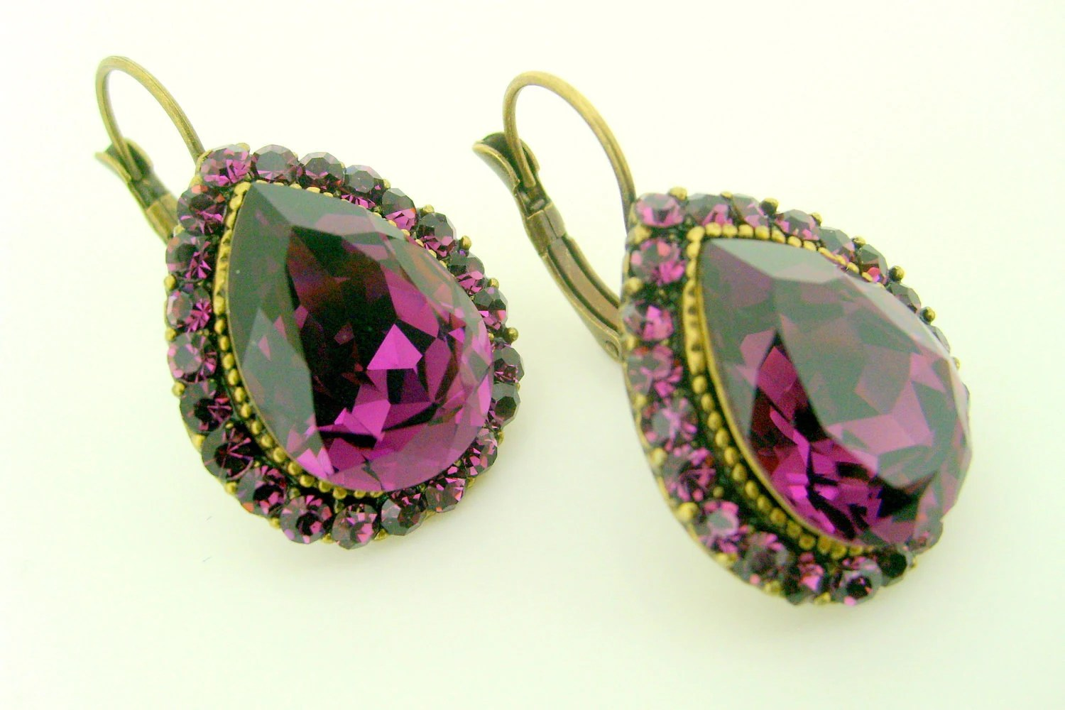 art deco crystal rhinestone earrings purple antique patina brass leverback earwire wedding jewelry bridal jewelry bridesmaid gift