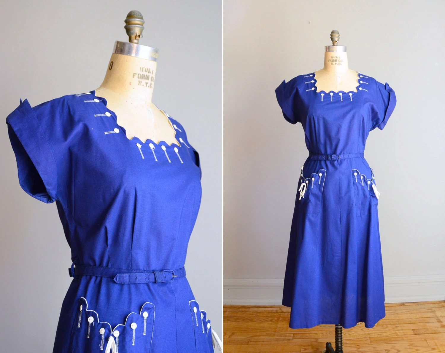 Vintage 1940s Royal Blue Button Dress .. Size XL - AthertonsVintage