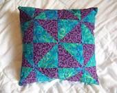 Handmade Decorative Pillow - Peacock and Purple swirls - Blue, Green, Purple, Orange