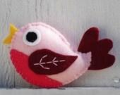 Pink Felt Baby Bird Plush Toy - 3FishAndALadybug