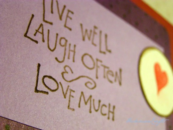 Live Laugh Love Card - Stamped Greeting Card, Red & Purple, Heart