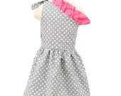 Girl Dress - Gray Polka Dot Pink Dress - Harlow - Matches our other items
