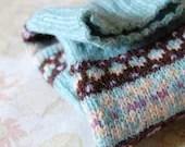 Fair Isle Fingerless Gloves Aqua Blue Chocolate Brown Lilac