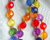 Gorgeous 22 Inch Long Multicolored Quality Acrylic Beaded Necklace