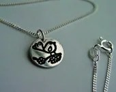Bird on a branch necklace sterling silver disk etched