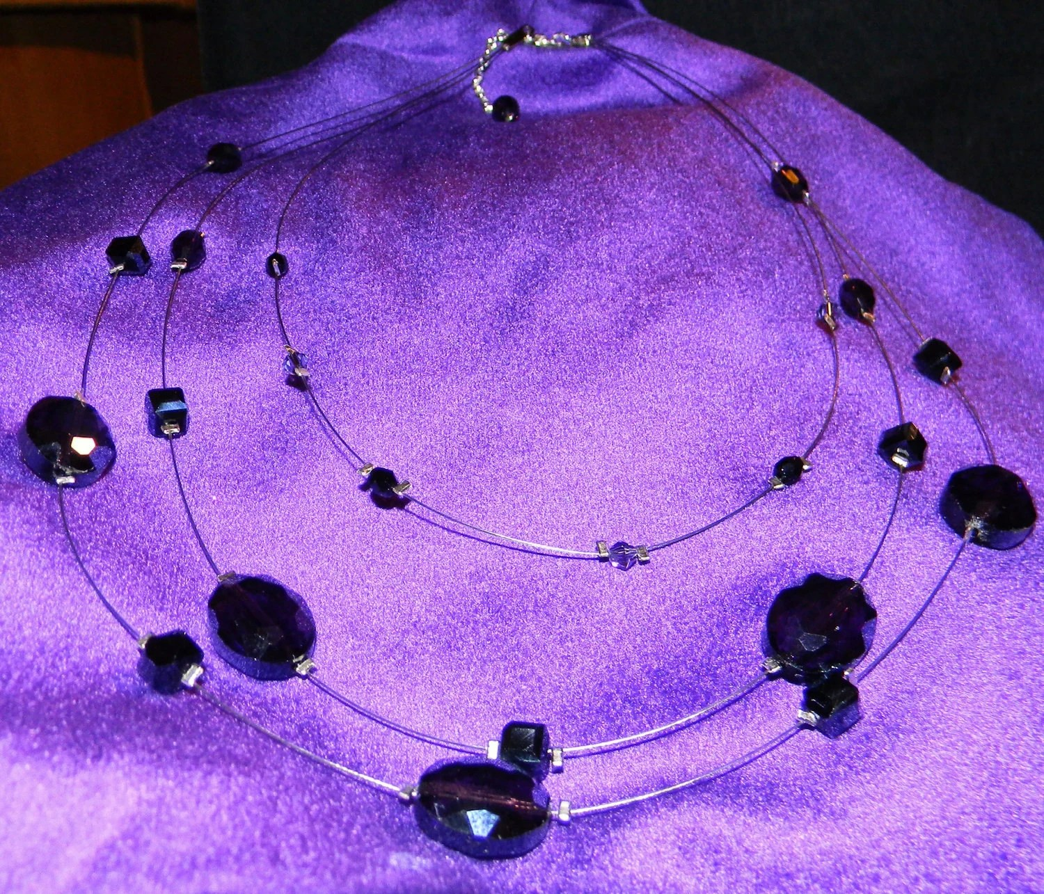 Gorgeous Deep Purple and Black Swarovski Crystal Beaded Multi Strand Necklace