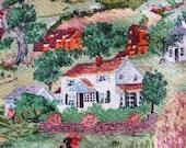 Vintage Barkcloth Fabric /// RARE Grandma Moses ///  1940's 1950's   HARVEST TIME  /// Treasury List ///    Skirt Full Circle