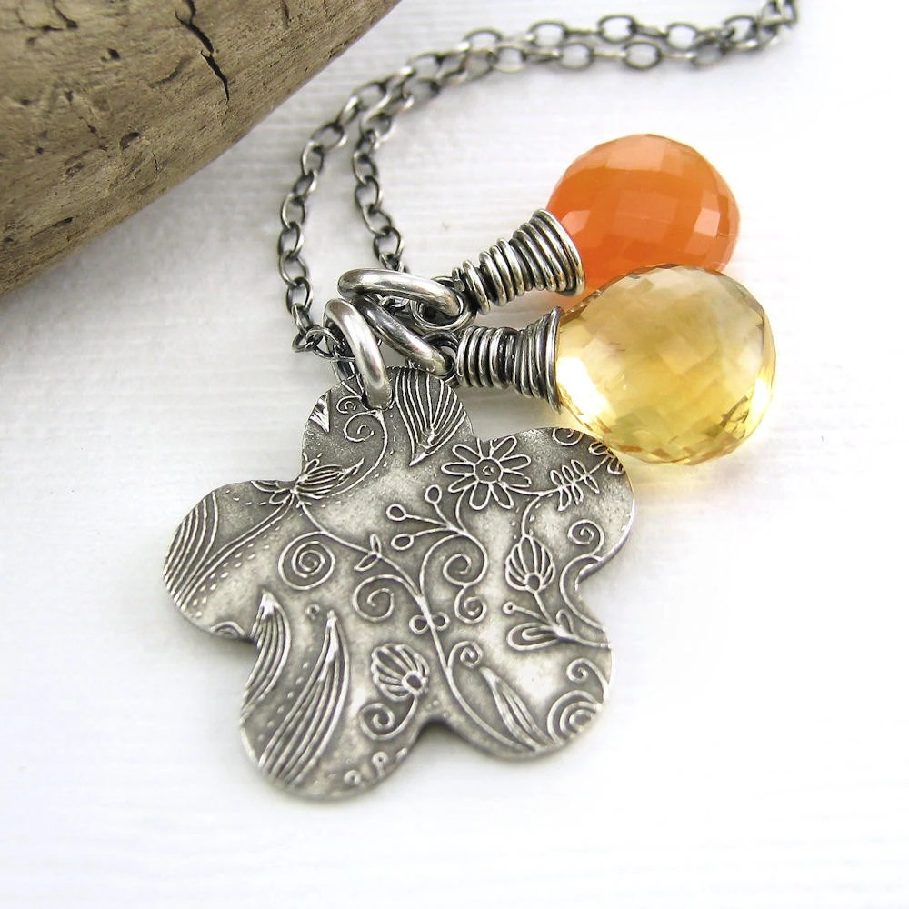 Charm Necklace Yellow Citrine Orange Carnelian Silver Flower Spring Fashion Jewelry - Duets No. 75 - Jennifer Casady