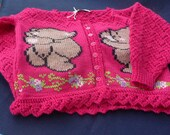 Hand Knit Girl's Cardigan with Bear Design
