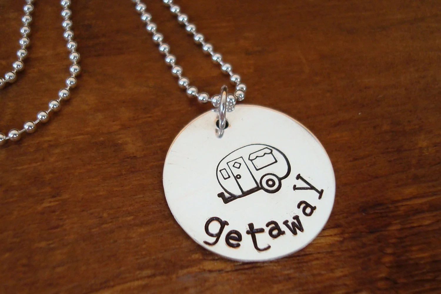 Camper Necklace - Getaway - Airstream - Hand stamped - Sterling Silver - Travel Trailer - mytweedledee