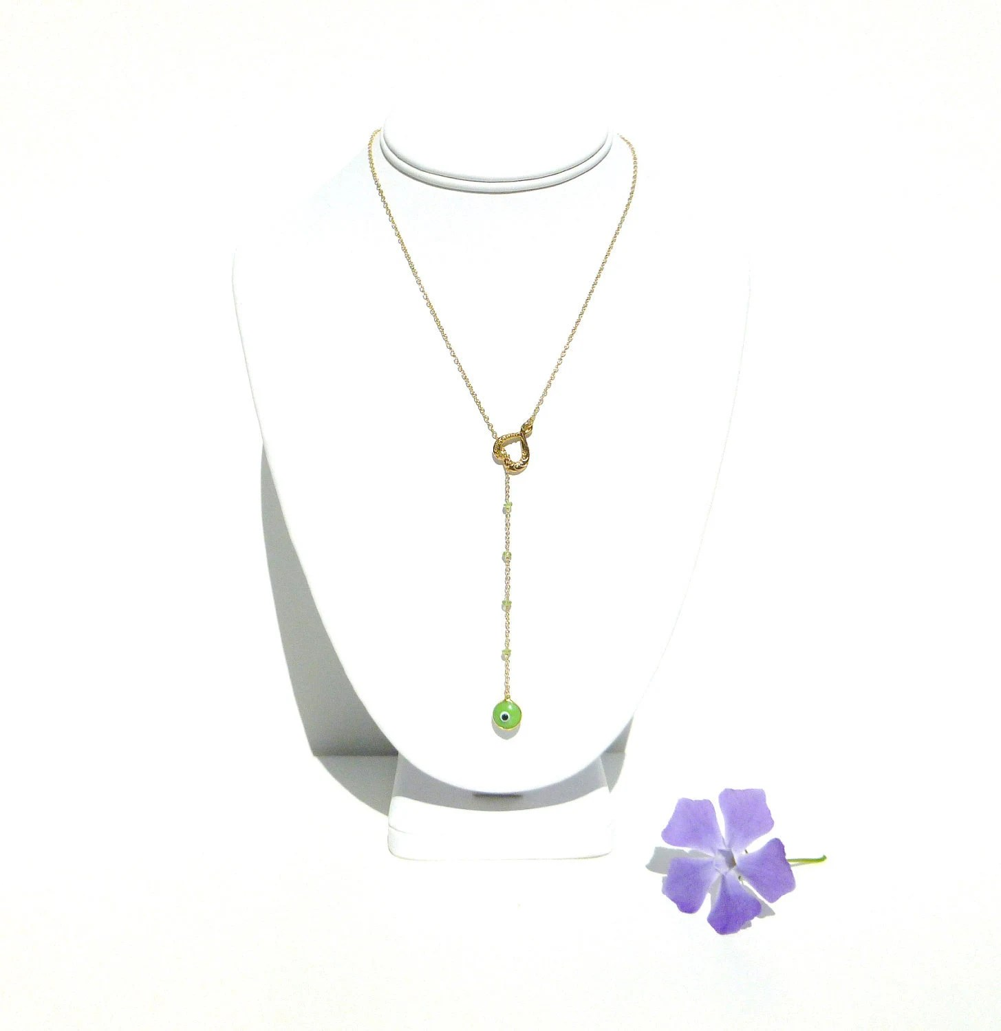 Evil Eye Necklace Gold Filled with Peridot and Heart Charm