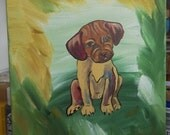 Fun little Puppy Dog, original 8x10 acrylic painting on canvas by Artist Rita Drolet