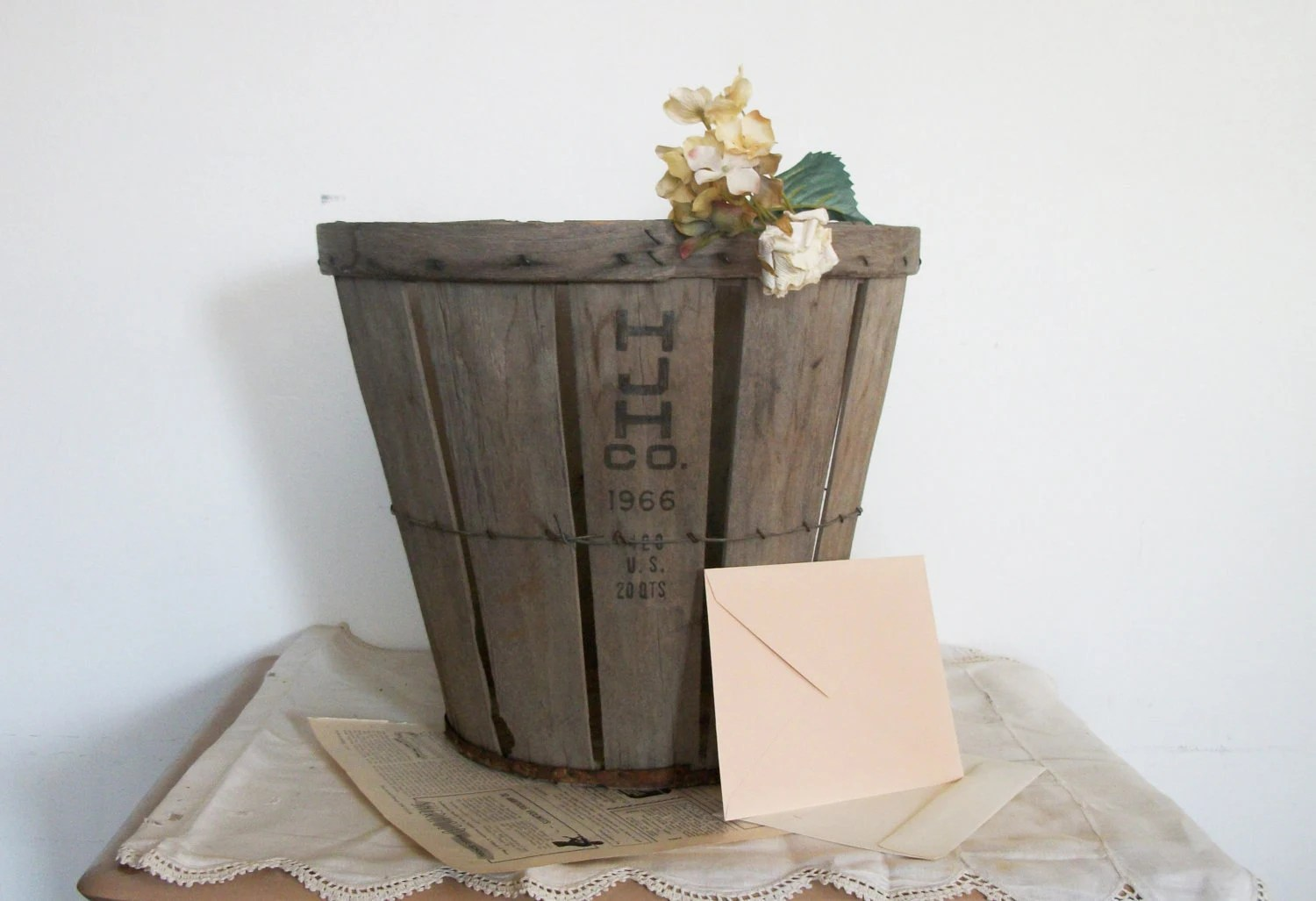 Vintage Orchard Basket- Card Basket For Rustic Outdoor Wedding / Party - HJH Co 1966 - TheeLetterQ