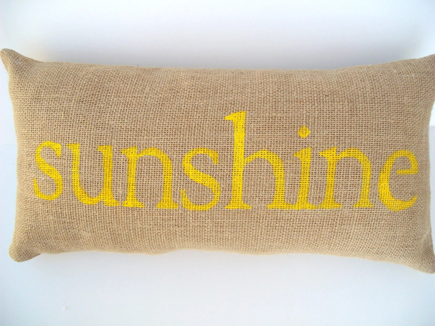 burlap pillow SUNSHINE word pillow, whimsical, summertime garden, yellow, nursery, home decor, birthday, graduation, teacher gift - whimsysweetwhimsy