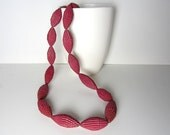 burgundy: Statement Necklace with Beads of Corrugated Cardboard - PaperStatement
