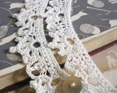 Victorian lace crochet necklace with shell button & loop fastening
