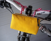 Handlebar bike bags, yellow bag for women, small, retro. - NorthEndThreads
