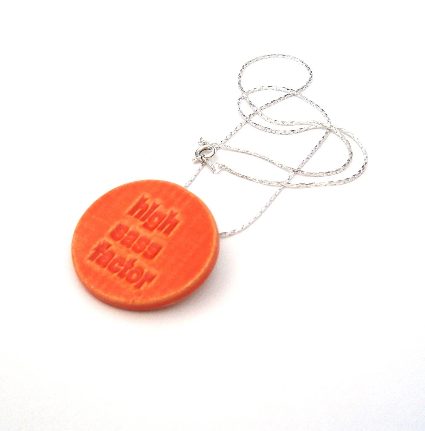 Sass Factor necklace and pin orange - SassyBelleWares