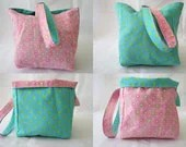 Knitting Project Bag/Crochet Project Bag (reversible wristlet) in pink, turquoise polka dots - IntrovertCreations