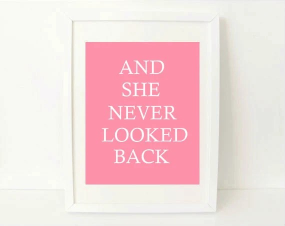 inspirational art print simple modern - And She Never Looked Back - 8x10 art print - light pink inspirational quote art print - exlibrispaperdesigns
