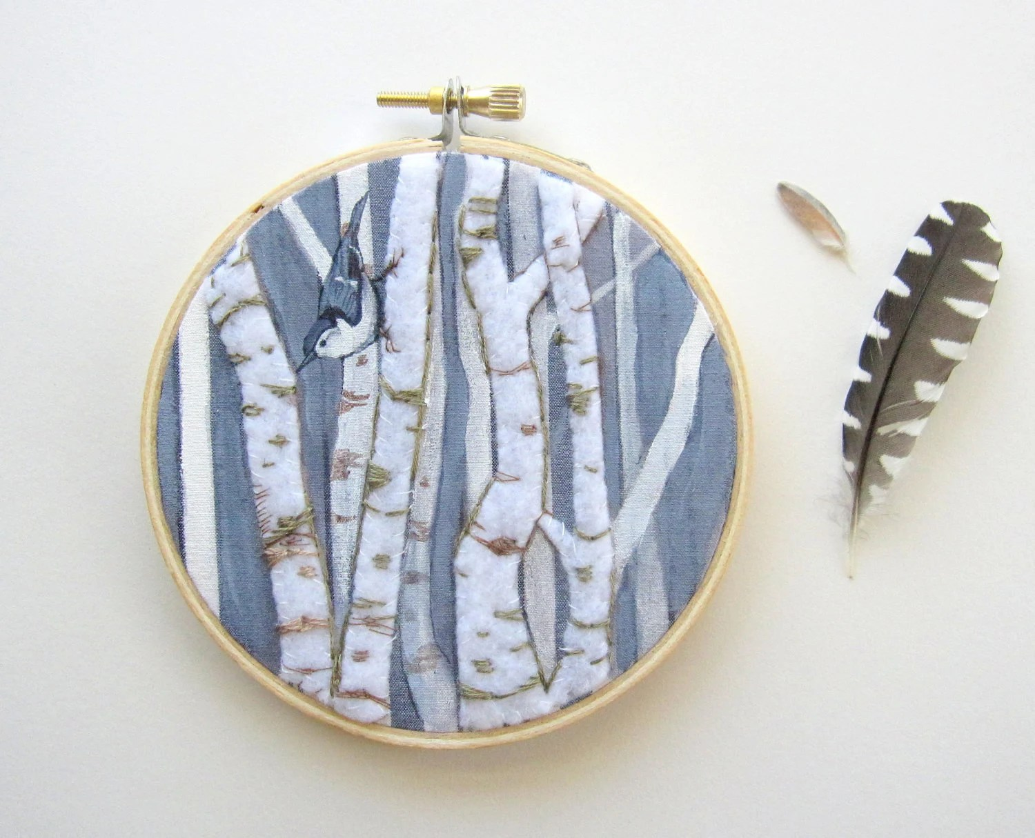 Embroidery Hoop, Birch Trees and Nuthatch Bird - PoofyDove