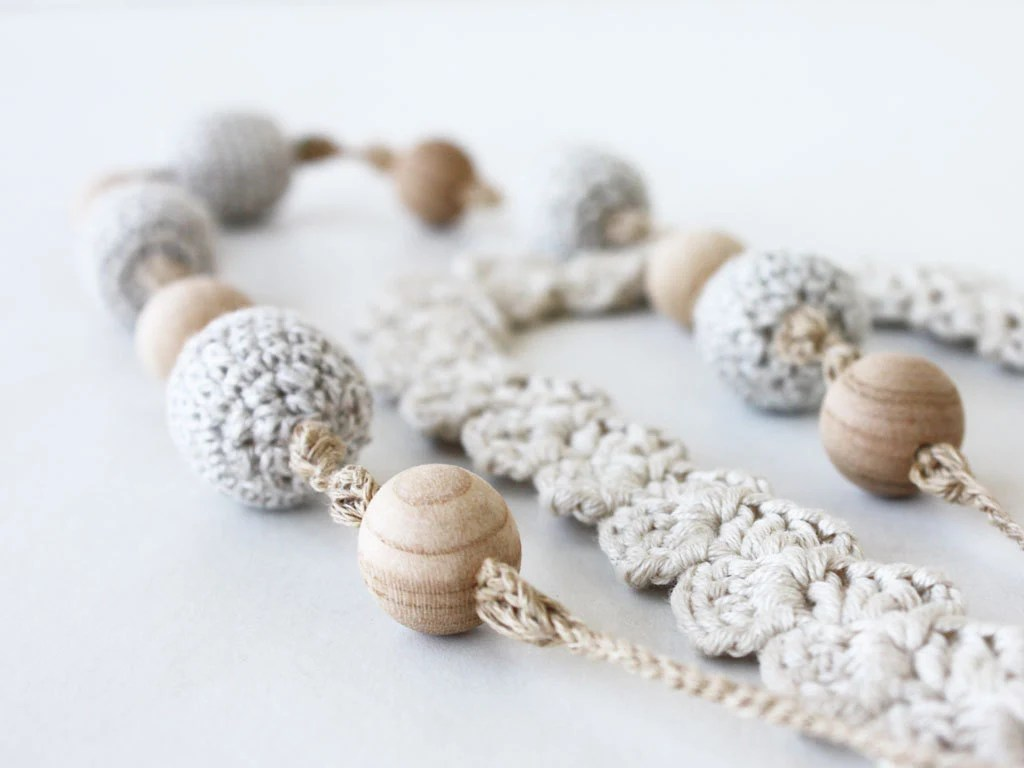 Stackable jewelry Rustic tan beige 2 in 1 crochet necklace Boho Hippie jewelry Natural Gift for her under 25 Summer fashion Sand oht - boorashka