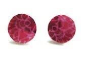 Pink Earrings Pink Purple Paper Cream Button Jewelry - molldee