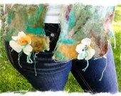 Felted Silk Chiffon Scarf - Mandarin Flowers On Grass  - Turquoise/Mandarin/Green - Botanical Collection - irisandrosedesigns
