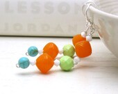 Boho Orange Lime Turquoise Sterling Silver Earrings - Sugar Daddy / Summer Fruit Juicy - cooljewelrydesign