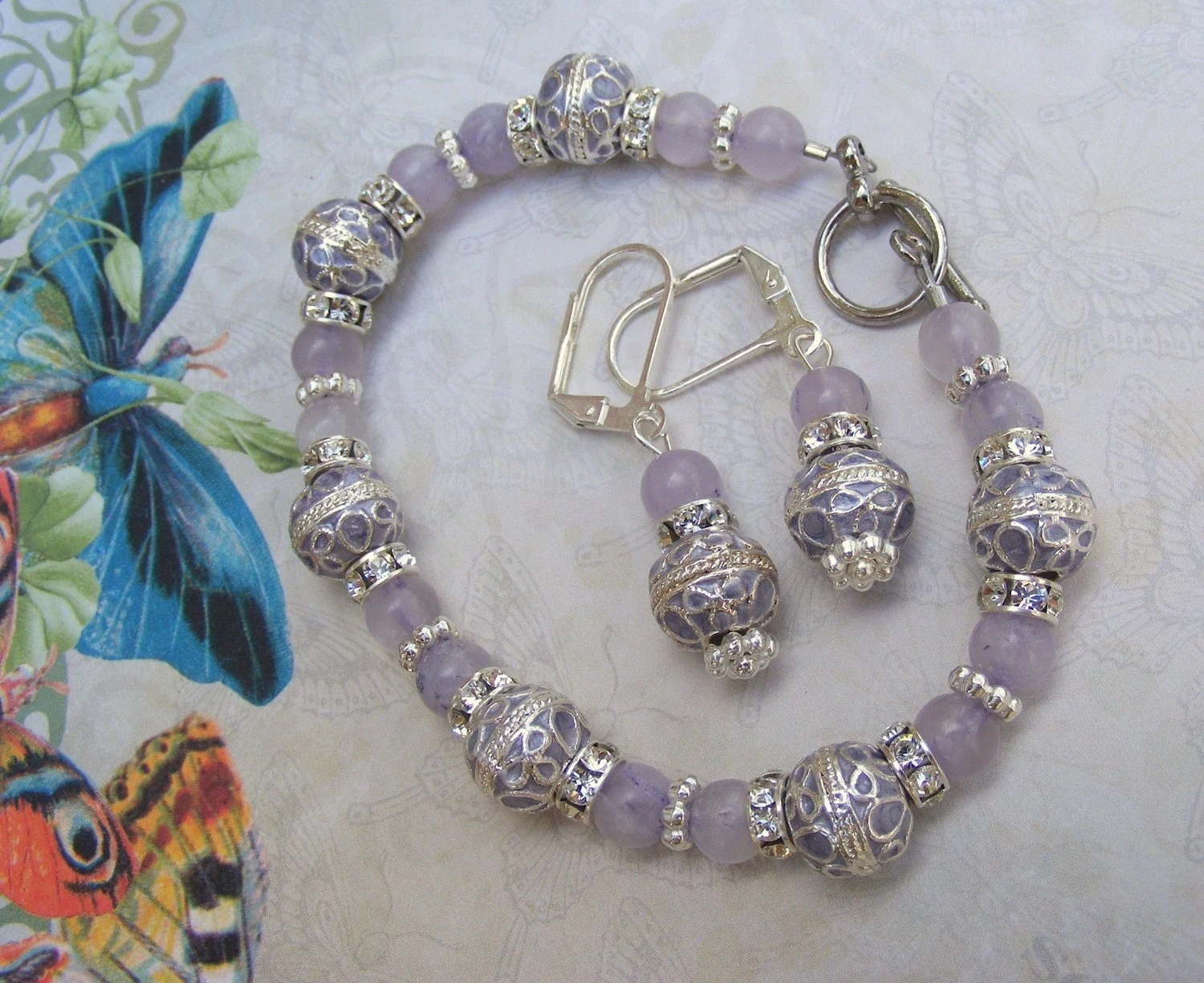 Lavendar Elegance Bracelet and Earrings