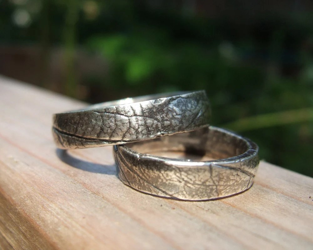 Gentleman Leaf, set of handmade silver rings