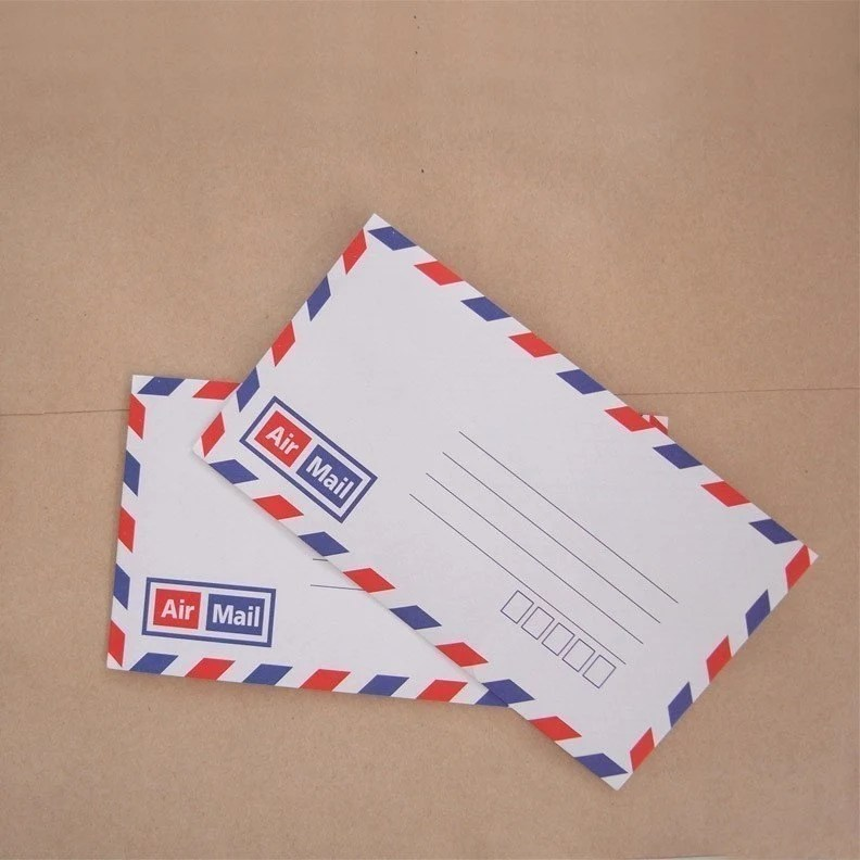 Set of 20 vintage style french air mail flat envelope with printed inside self glue 16cm X 9cm