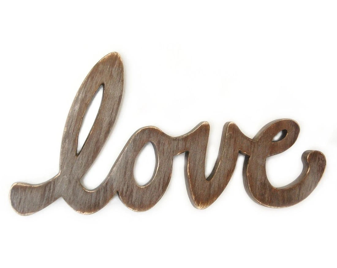 Love Sign wedding decor - engagement prop - photo prop - word sign metallic taupe
