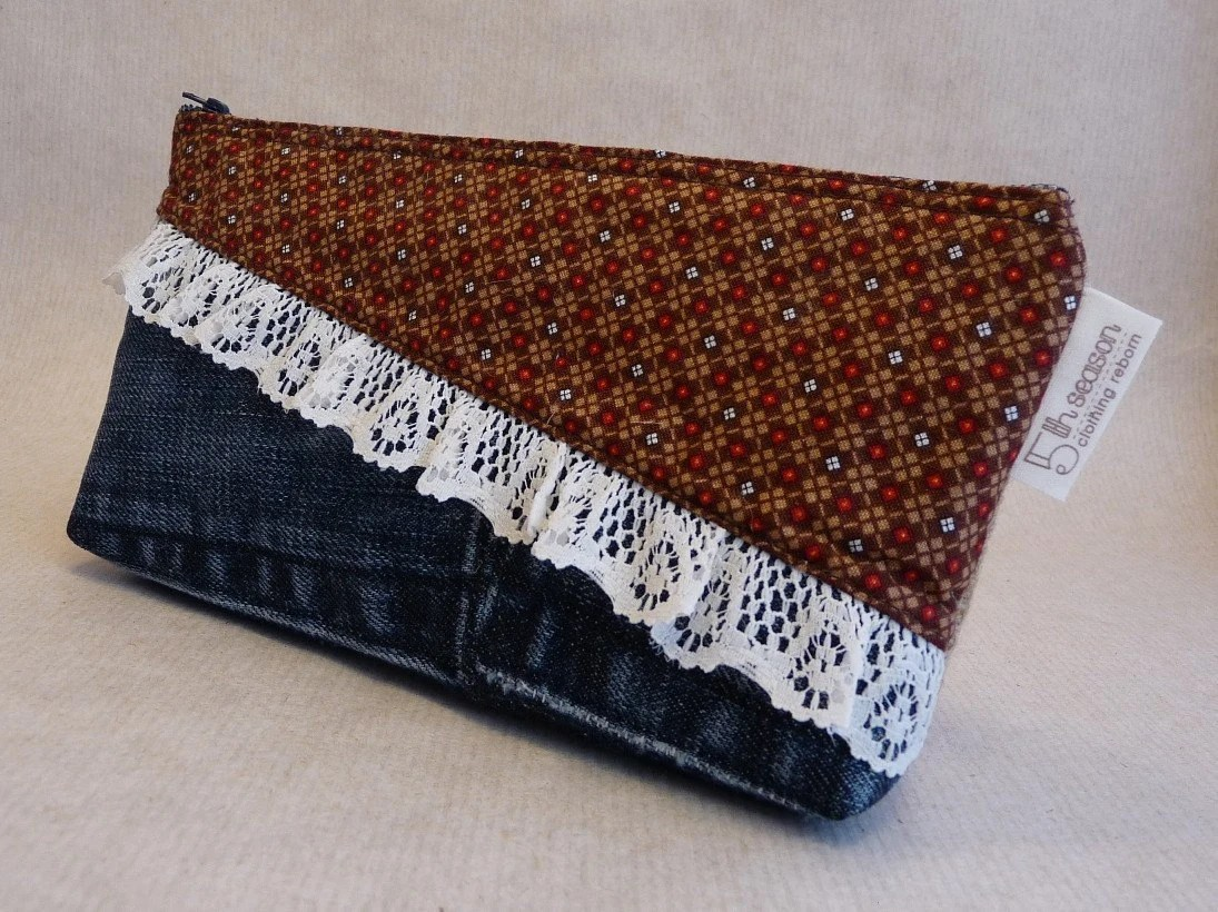 CLEARANCE. Upcycled clutch. Makeup bag. Pencil bag. Burlap. Dark denim. Red and brown checkered. Lace.