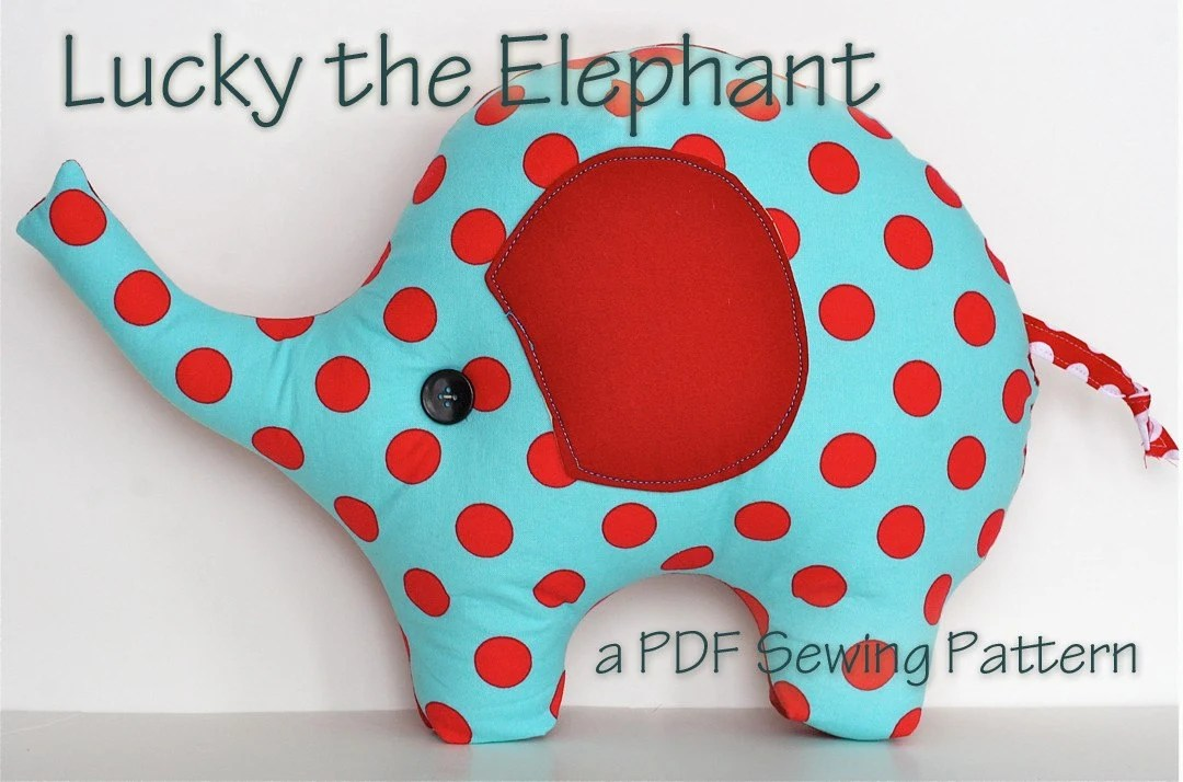 Elephant Pillow Plush Sewing Pattern Lucky the Elephant super cute