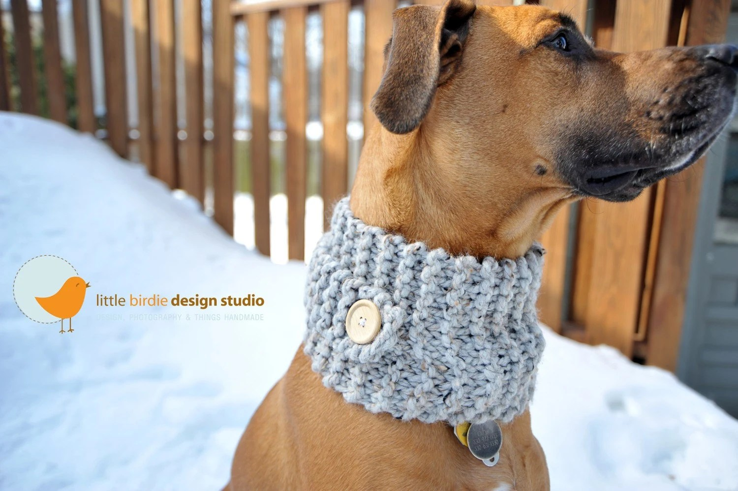 Grey Doggie Neck Warmer - Med/Large